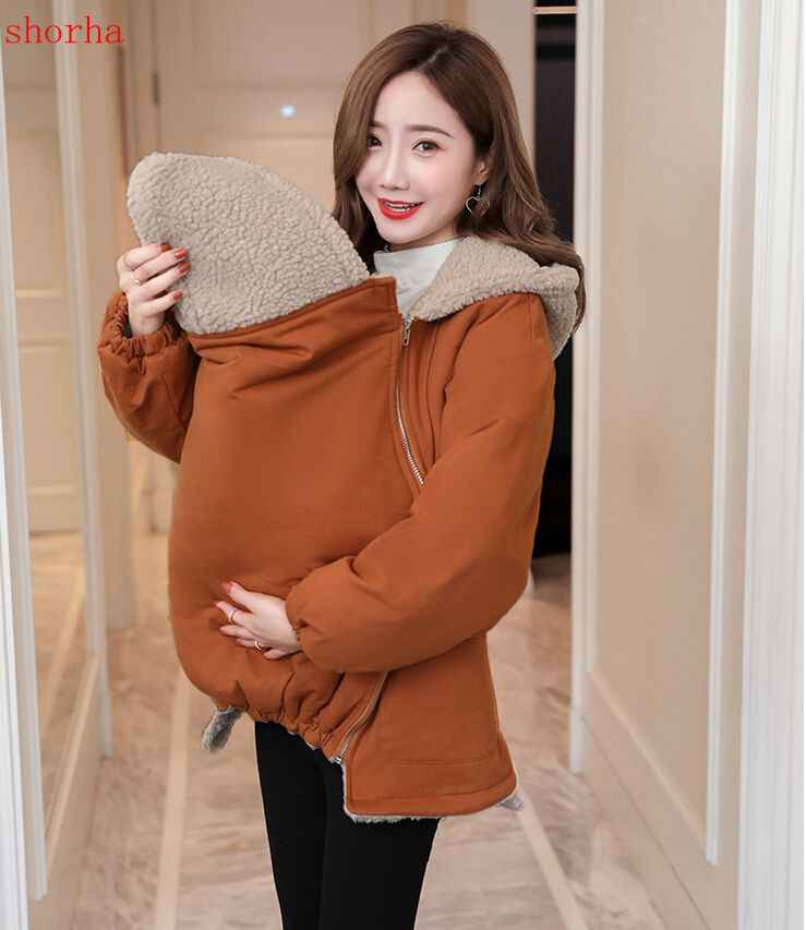 Winter Maternity Outerwear Coat Baby Carrier Kangaroo Jacket Clothes for Pregnant Woman Thicken Fleece Pregnancy