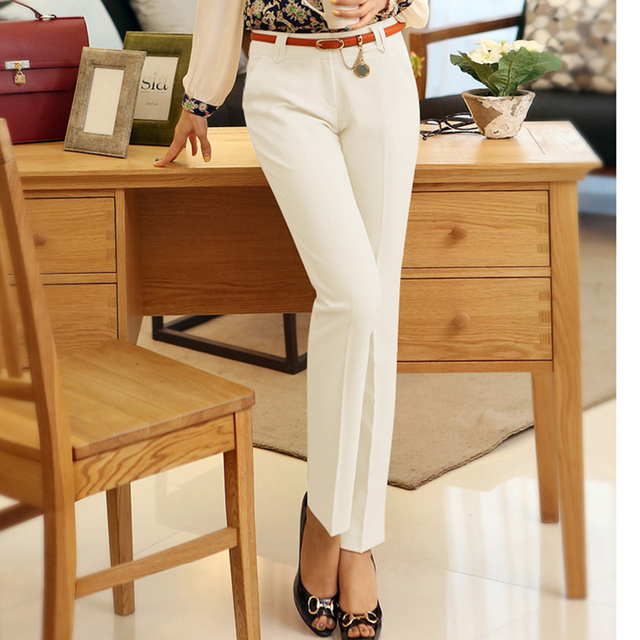 Casual Plus size 4XL Straight Pencil Pants women 2019 NEW Formal Office Work trousers Mom's Fashion slim waist pants female