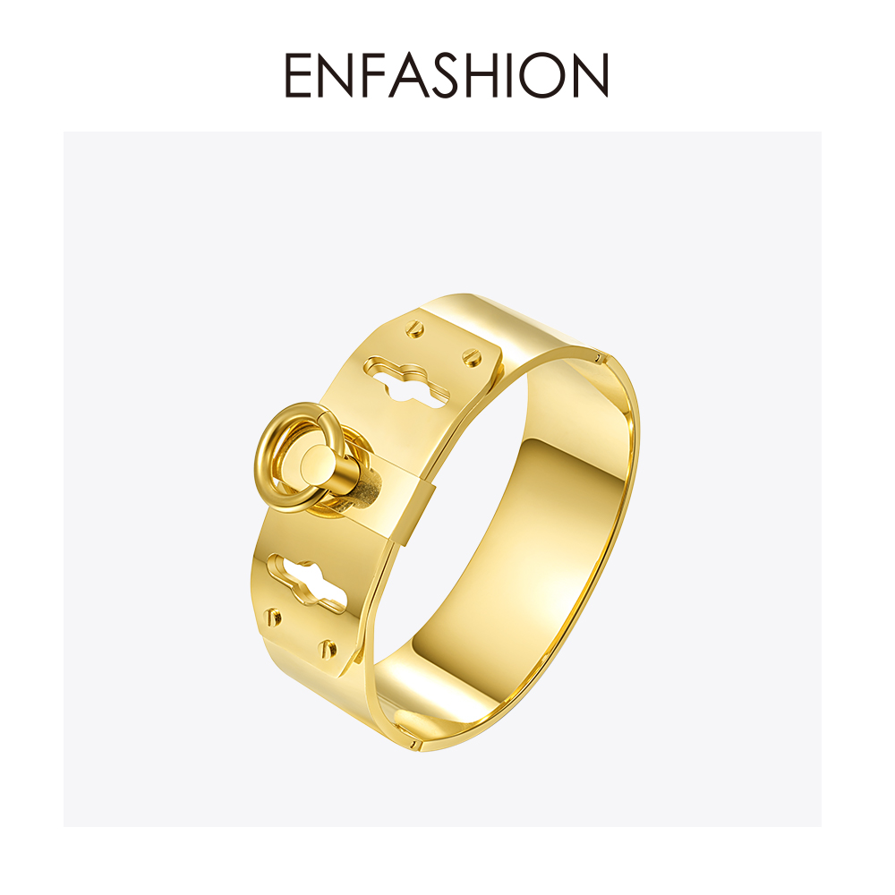 Enfashion Jewelry Circle Ring Wide Manchet Armband Noeud armband Gouden kleur Bangle Bracelet For Women Armbanden Manchette Bangles