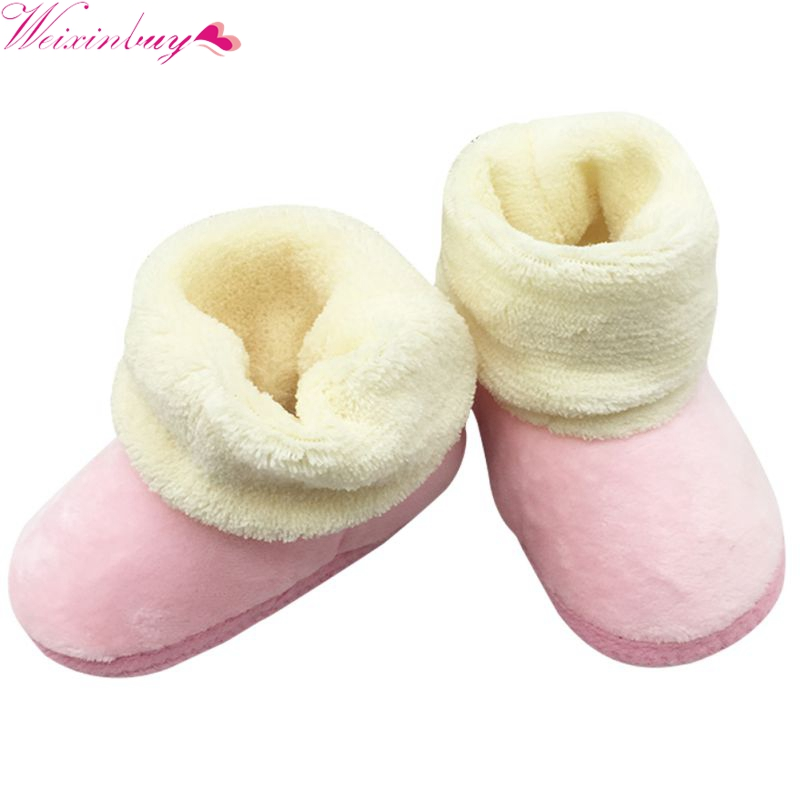 Autumn Winter Kids Baby Boys Girls Soft Plush Cute Booties Infant Anti Slip Snow Boots Warm Shoes First Walkers