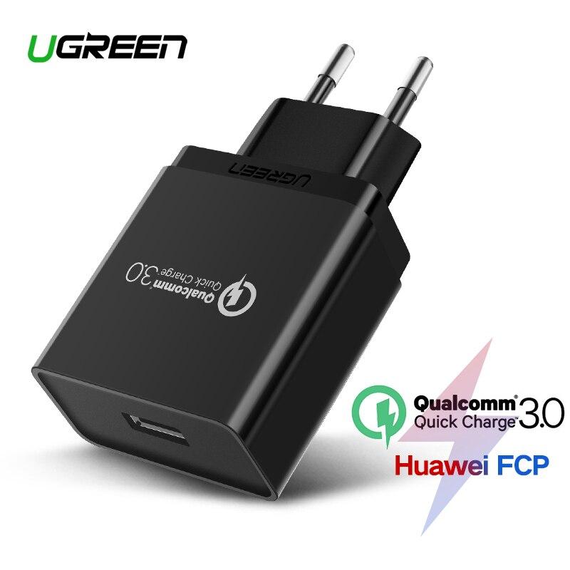 Ugreen USB cargador 18 W de carga rápida 3,0 cargador de teléfono móvil para iPhone rápido QC 3,0 cargador para Samsung Huawei galaxy S9 + S10