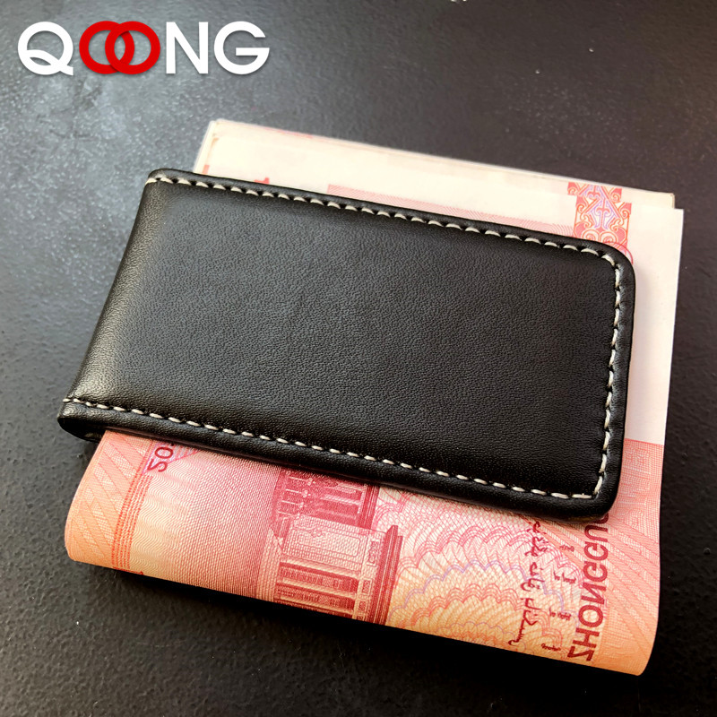 QOONG Money Clip Wallet Slim Men Women Vintage Strong Magnet Money Clip Cow PU Leather Pocket Clamp Credit Card Cash Case Holder