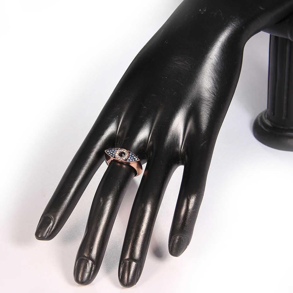 Paylor Rose Gold สีพราวสีฟ้า Evil Eyes แหวนสำหรับงานแต่งงานของผู้หญิงสาวคนรัก Bague Femme ยี่ห้อแหวนเงินเครื่องประดับ