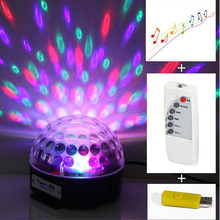 Mini LED Laser Projector MP3 DJ Club Disco Party Music Crystal Magic Ball Stage Effect RGB Christmas Light With USB Disk+Remote