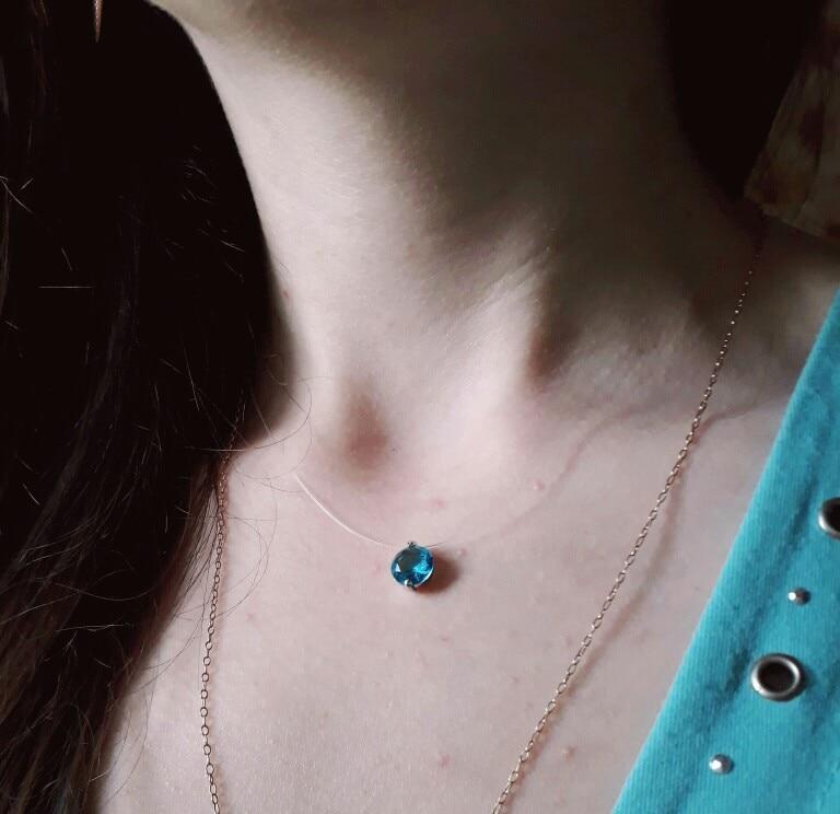 Nevidljiva linija Šarene cirkonske ogrlice Žene Choker Modni nakit - Modni nakit - Foto 5