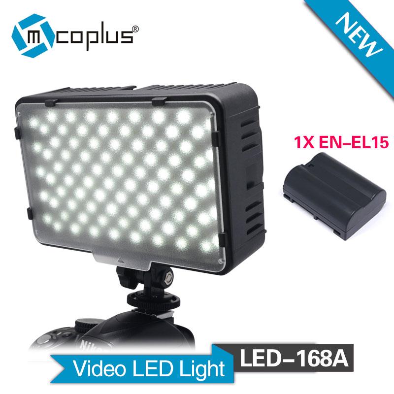 Mcoplus 168A LED Video Light with 1pcs EN-EL15 battery for Camcorder & Digital SLR CamerasMcoplus 168A LED Video Light with 1pcs EN-EL15 battery for Camcorder & Digital SLR Cameras