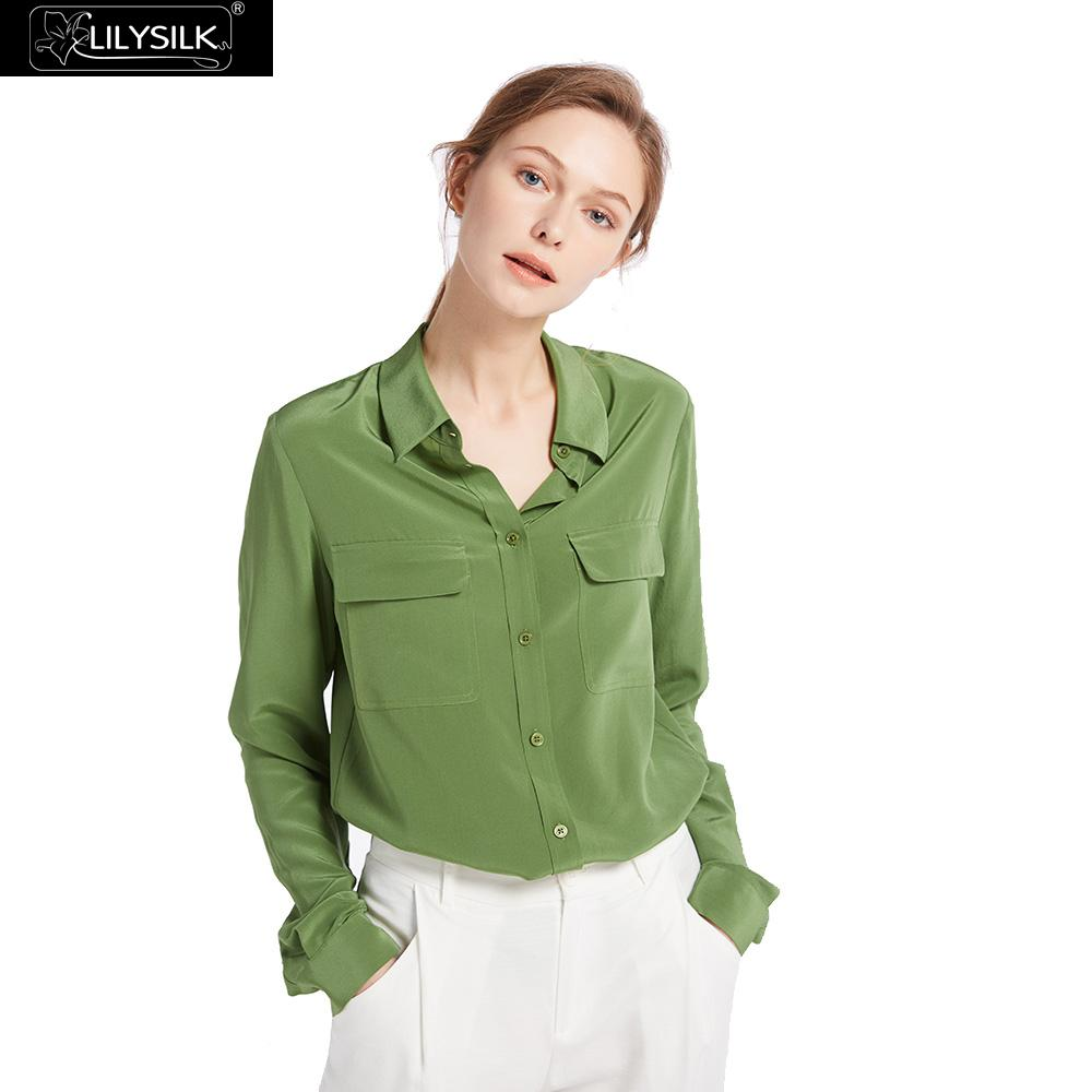 LilySilk Shirts Blouse Women Basic Box Pleated 100 Crepe de chine silk lightweight wrinkle resistant Free