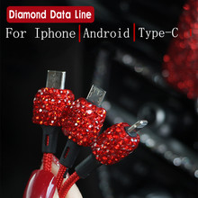 цена на Crystal Diamond USB Data Line For Mobile Phone Charger Car-Charger Dual USB Car Phone Charger Data Line Wire in Car Ornaments