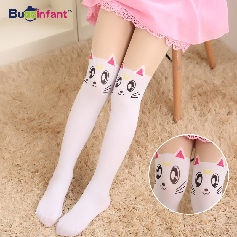 Summer-Childrens-Baby-Kids-Girls-Thin-Tights-Pantyhose-Knee-Fake-Tattoo-Velvet-Stocking-white-Cartoon-Kitty-Cat-3-8Y-new-2016-5