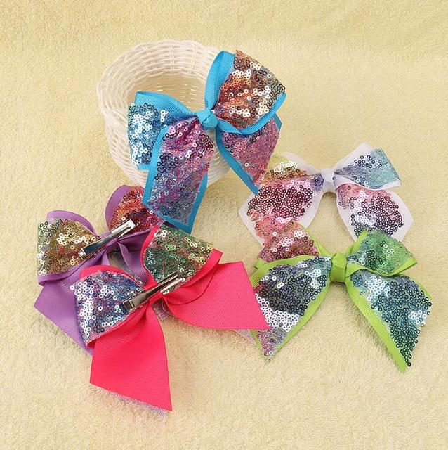 5 Sequin Cheer Bow Big School Color Hair With Alligator