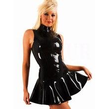 New Sexy Black Extra Mini Dress PVC 2XL Plus Size Zipper On The Front Wet Look Sleeveless Bodycon Women Vinyl Latex Dress