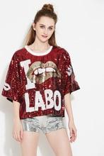 Fashion women's sequins T-shirts Chic Hip-hop loose Tee shirts  Str-Dance Tops Tees