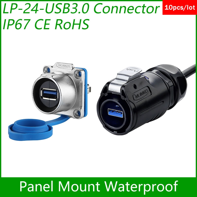 USB3.0 female Socket Panel Mount Adapter Cable Connector Dip USB 3.0 Plug Waterproof Cnlinko quick insert Data Interface 10 pcs 100pcs 5000pcs usb female socket for apple iphone 5 testing connector 10pin smt front insert feet connector tail plug