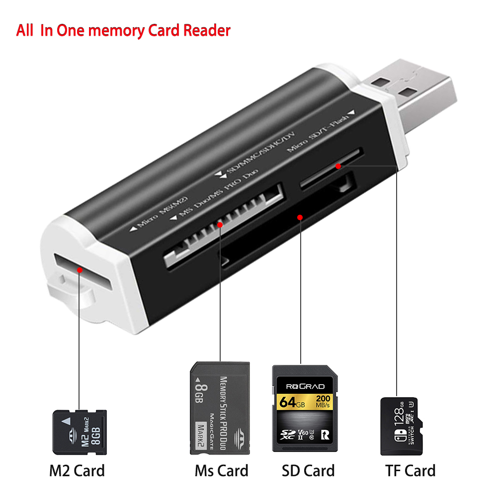 All in 1 USB 2.0 Card Reader SD/ Micro SD TF Smart Memory Card Adapter for Laptop Card Reader SD Card Reader