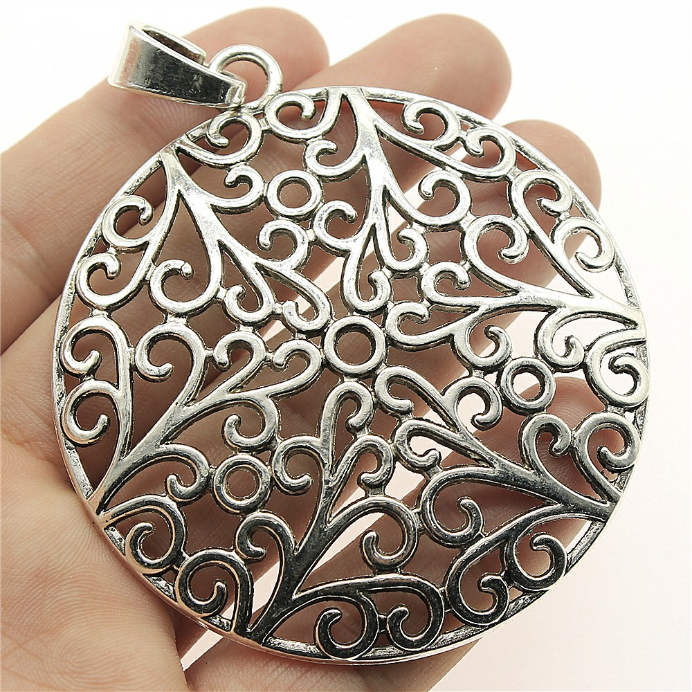WYSIWYG 1pcs 73*66mm Large hollow carved round Pendants Charms Findings Jewellery Making Findings for DIY Craft