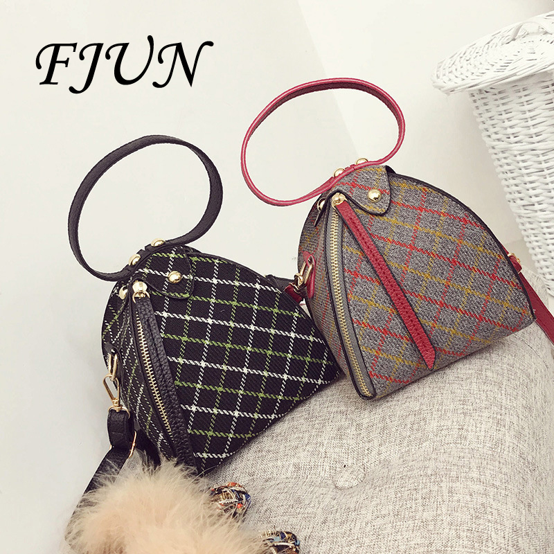 FJUN 2018 Women Mini Hand Bag Triangular Clutch Triangle Small Shoulder Bag Female Unique Messenger Bags Suede Wool Leather Bags 2017 fashion all match retro split leather women bag top grade small shoulder bags multilayer mini chain women messenger bags