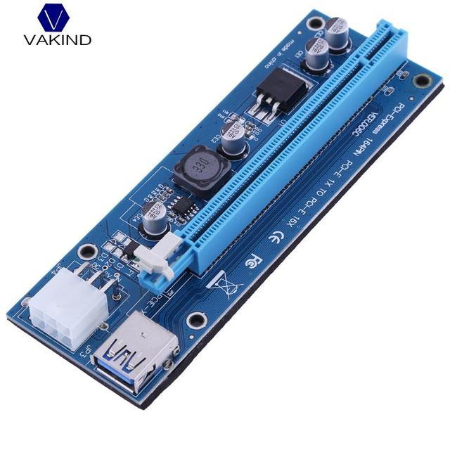 VAKIND 6Pin PCI-E Riser PCI Express USB3.0 PCIE 1x A 16x Riser Cartão Extender Para Bitcoin Mining 127*44*15mm (somente Cartão)