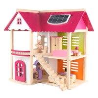 DIY кукольный домик Миниатюрный Кукольный домик супер размер розовый домик для принцессы вилла деревянный домик головоломка сборная игрушк