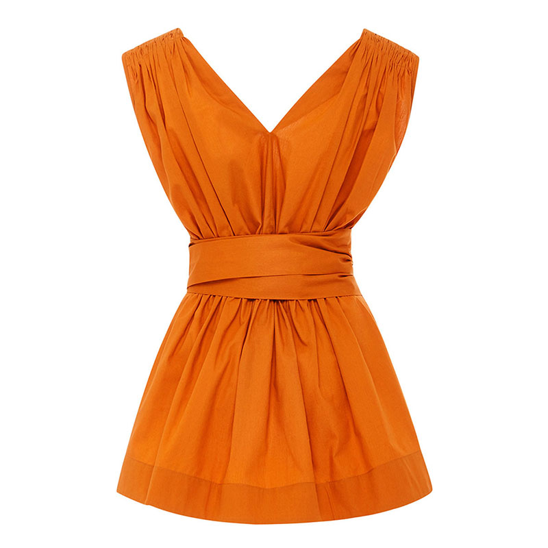 Young17 sexy top summer women orange solid bow sashes v neck girls beach shirt female casual shirt sleeveless backless top