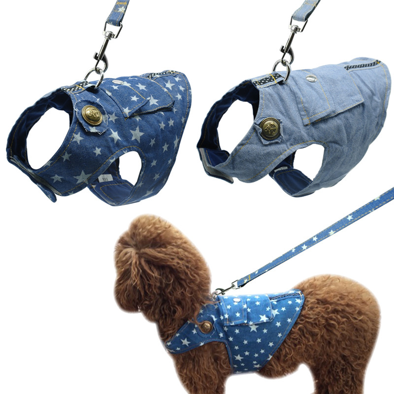 Denim Dog Harness and Leash Jeans Pet Vest Jacket For Small Puppy Dogs Teddy Poddle 3 Size S M L