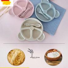 Детская посуда, 3 шт., одноцветная Милая миска, пшеничный соломенный коврик, детский всасывающий стол, поднос для еды, тарелка