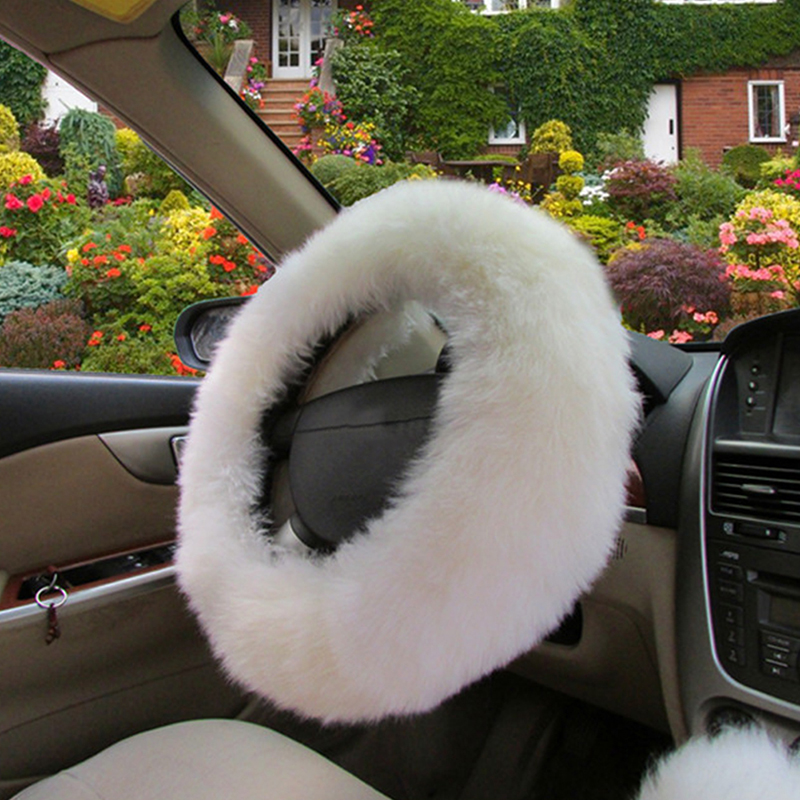 3pcs/Set Soft Wool Steering Wheel/Handbrake/Shift Gear Covers Fluffy for Car