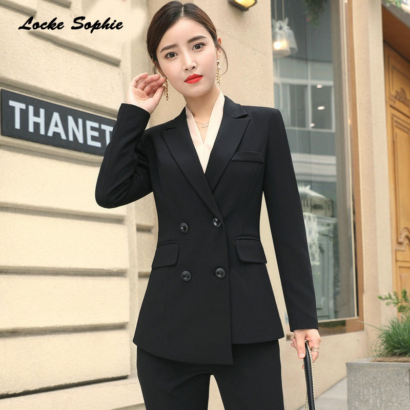 Women's Plus size Blazers coats 2019 Spring cotton blend Double-breasted Suits jackets ladies Skinny office Blazers Suits coat