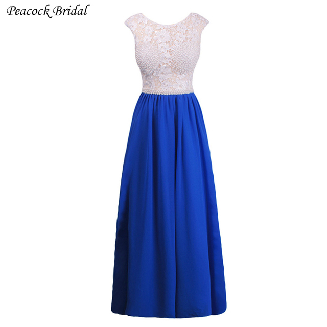 827414009 Pavo Real Azul de Encaje de Gasa Largo Vestido de Fiesta Elegante Sin  Mangas de Encaje