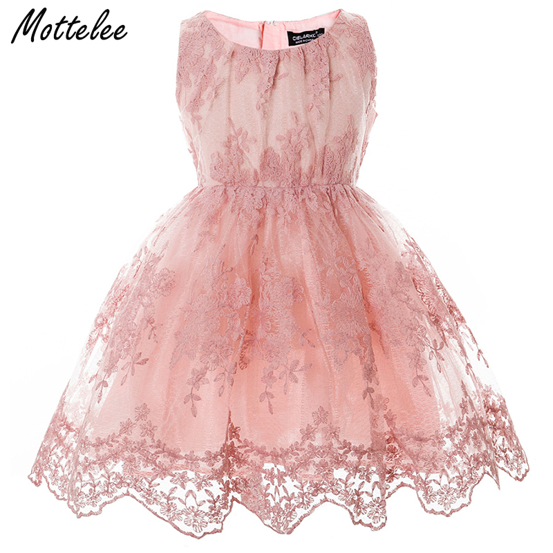 Mottelee Children Girls Dress Lace Flower Kids Frocks Elegant Baby Party Prom Dress Wedding Birthday Evening Gowns for Girl floral flower printed ball gowns with belt 2016 summer o neck short sleeve princess dress for party frocks evening prom dress