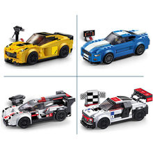 SPEED CHAMPIONS Z06 GT R18 R8 Super Racers Supercar Racing Car Building Blocks Sets Classic Model Kids Toys For Children Gift(China)