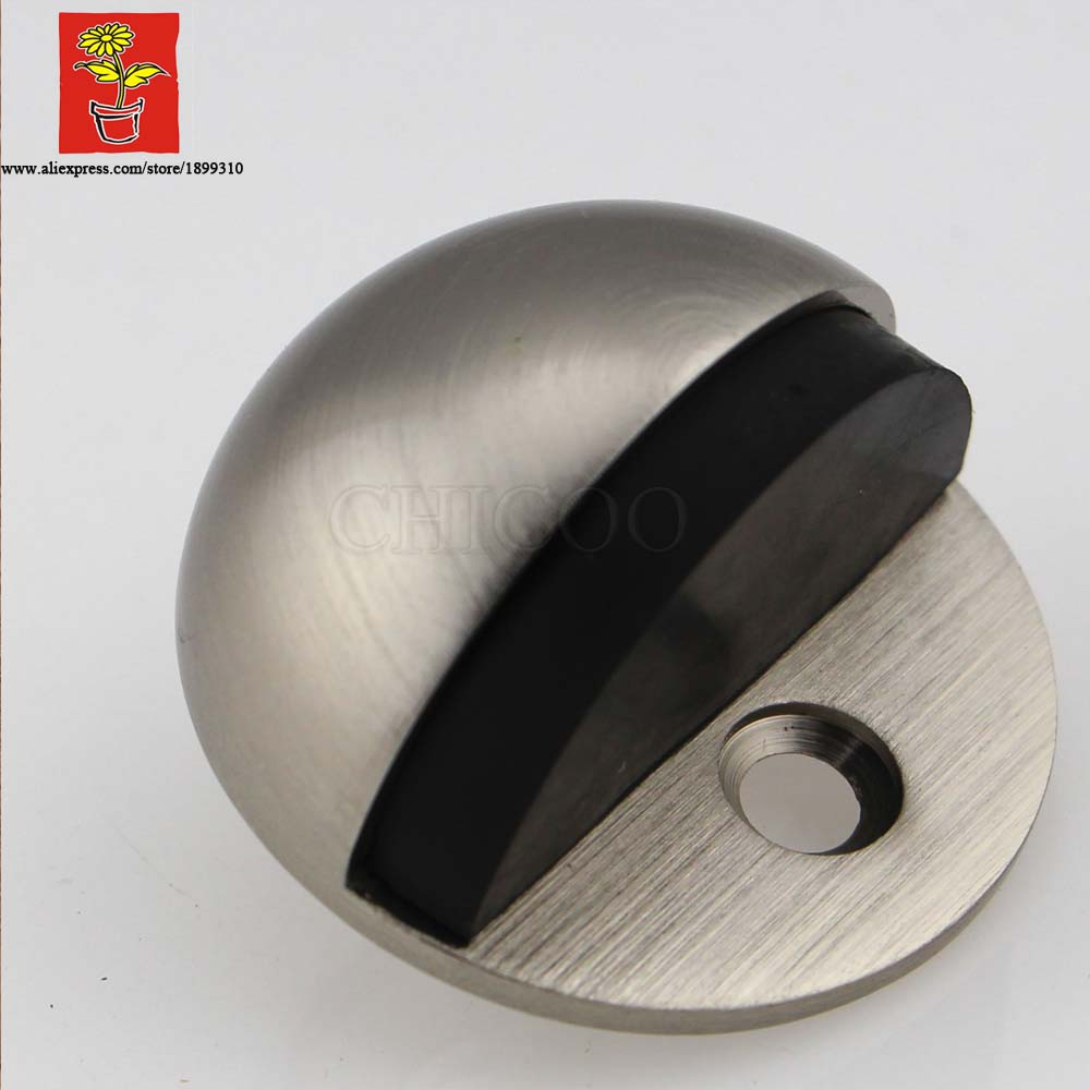 Whole 10pcs Zinc Alloy Satin Nickel Half Moon Door Stopper For Glass Rubber Building Fashion Doorstops In Stops From Home