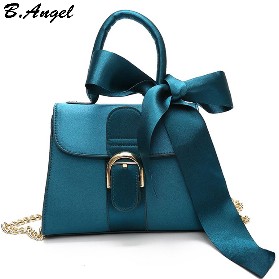 Ins Hot Small Women Messenger Bags with Ribbons DIY Women ...