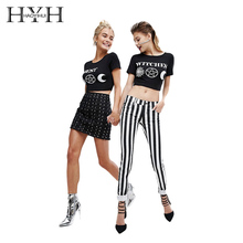 HYH Haoyihui Woman Fashion T-shirt Sexy Short Appliques Letter O-Neck Solid Black Tops 2018 Summer New T-Shirt