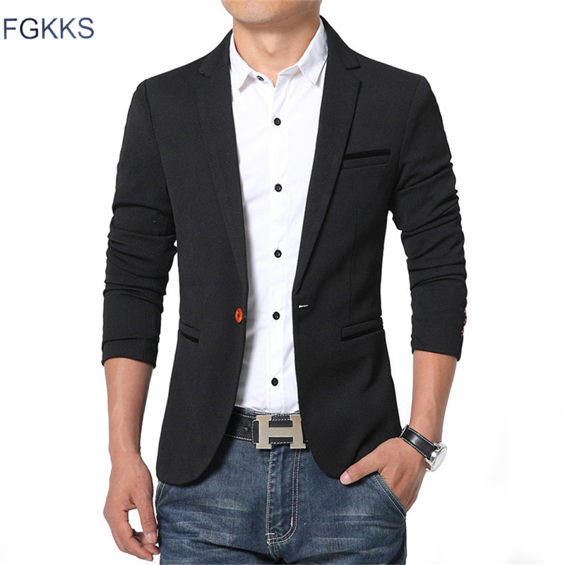 FGKKS New Spring Casual Men Blazer Cotton Slim Fit High Quality Luxury Blazer Male Fashion Brand Blazer Male