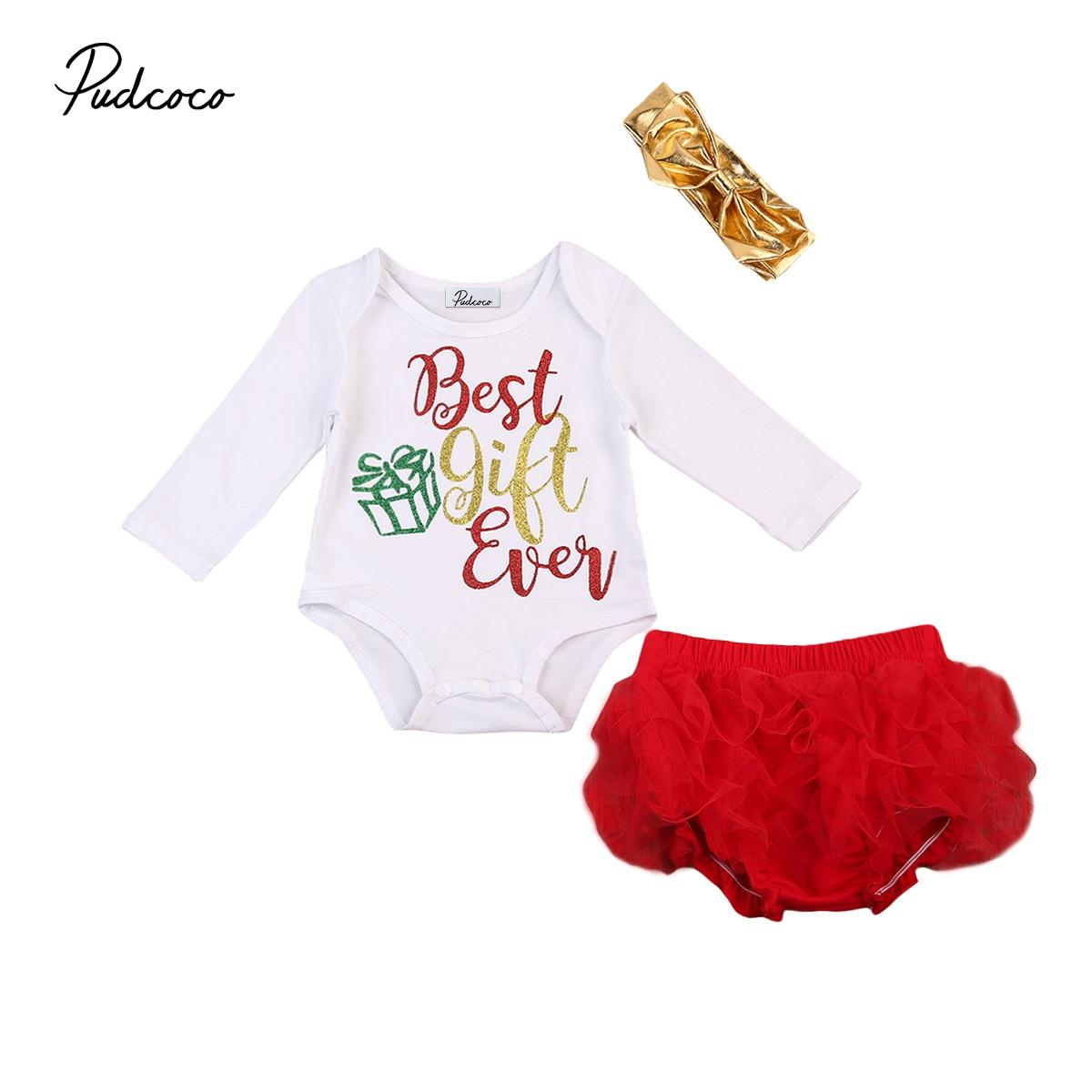 Newborn Baby Girls Christmas Rompers Red Tutu Bloomer Shorts Headband 3Pcs Outfits Set Clothes Long Sleeve Girls Xmas Clothing