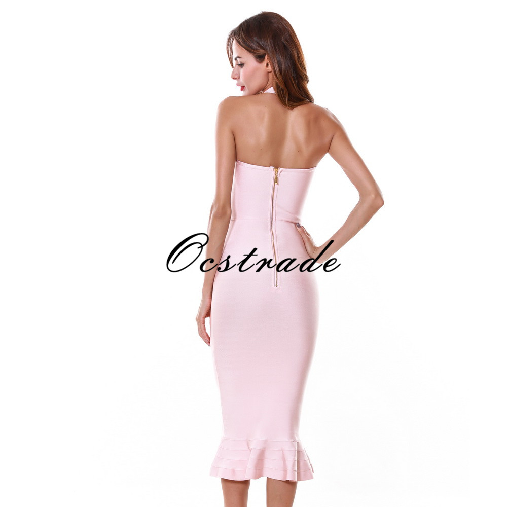 New 2016 Sexy Summer Dress Nude Hater Bandage Dress Knee Length with Fluted hem Wholesale HL-in Dresses from Women's Clothing    3