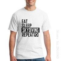 Coma o Sono Skydive Repetir Roupas de Mangas Curtas O Pescoço Para Homens Interessantes Camisetas Por Atacado Baratos Mens Blusa Camiseta