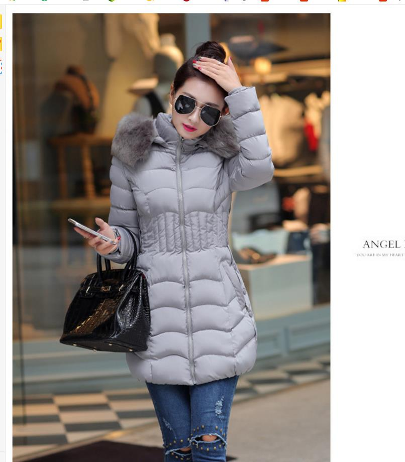 2018 women's new feather cotton   basic     jacket   coat Slim was thin coat big hair collar winter coat 652018