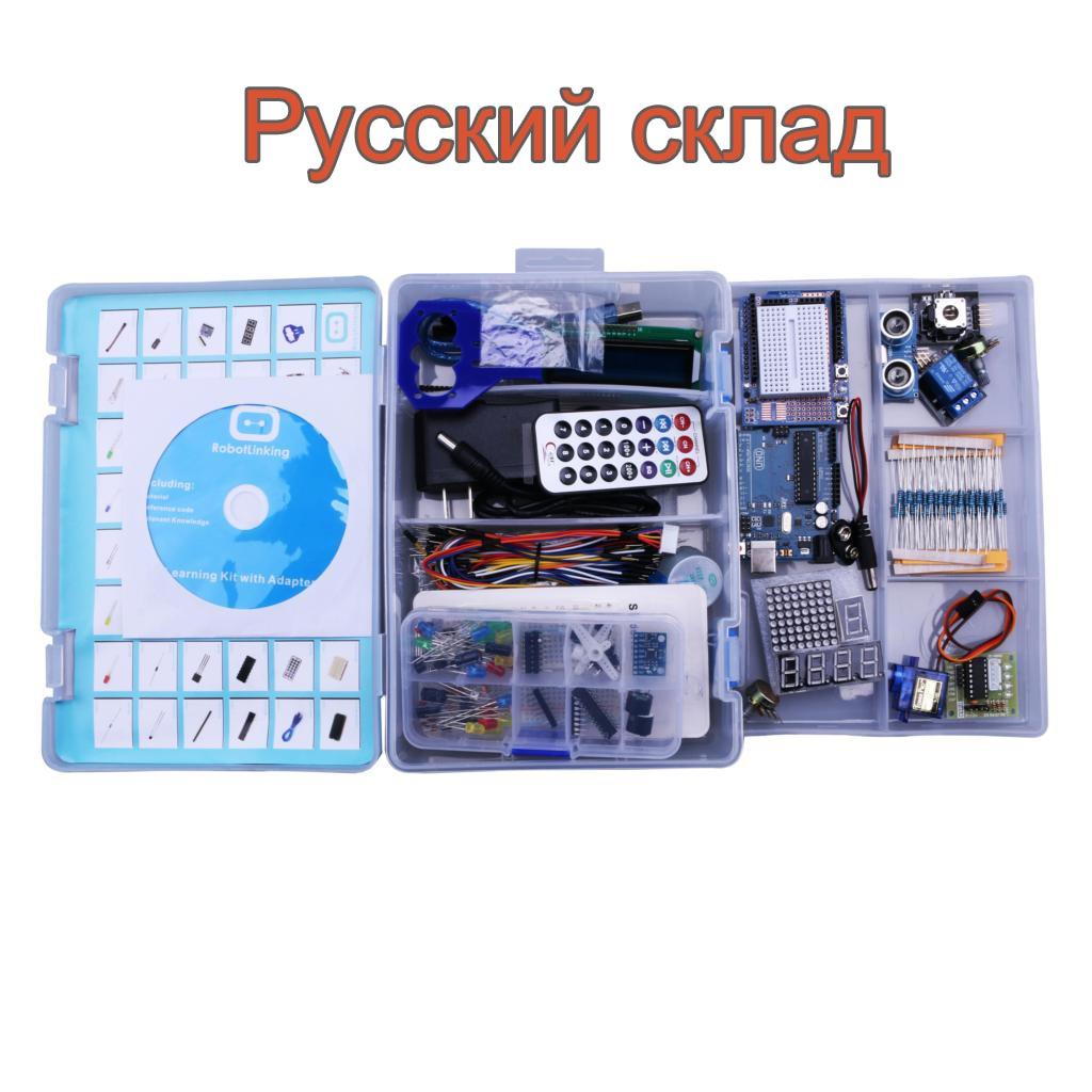 Robotlinking UNO Projekt Die Meisten Komplette Starter Kit für Arduino Mega2560 UNO mit Tutorial/Netzteil/Servo Stepper motor