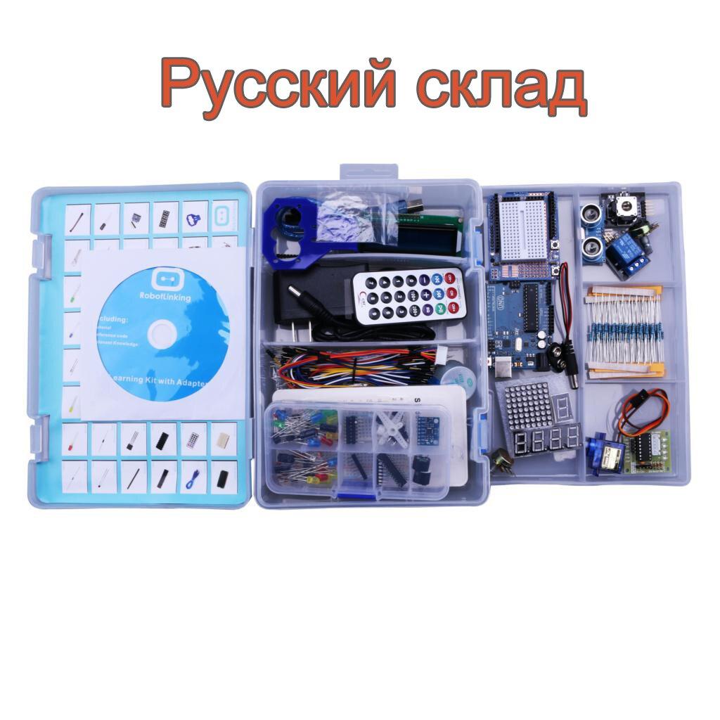 Robotlinking UNO Projet La Plus Complete Starter Kit pour Arduino Mega2560 UNO avec Tutoriel/Alimentation/Servo Stepper moteur