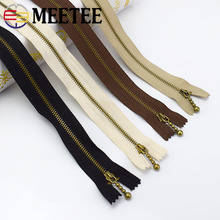Meetee 5pcs 3# 15/20/30/40CM Metal Bronze Zipper Closed-end Copper Material Clothing Luggage Sewing Handmade Accessories AP567