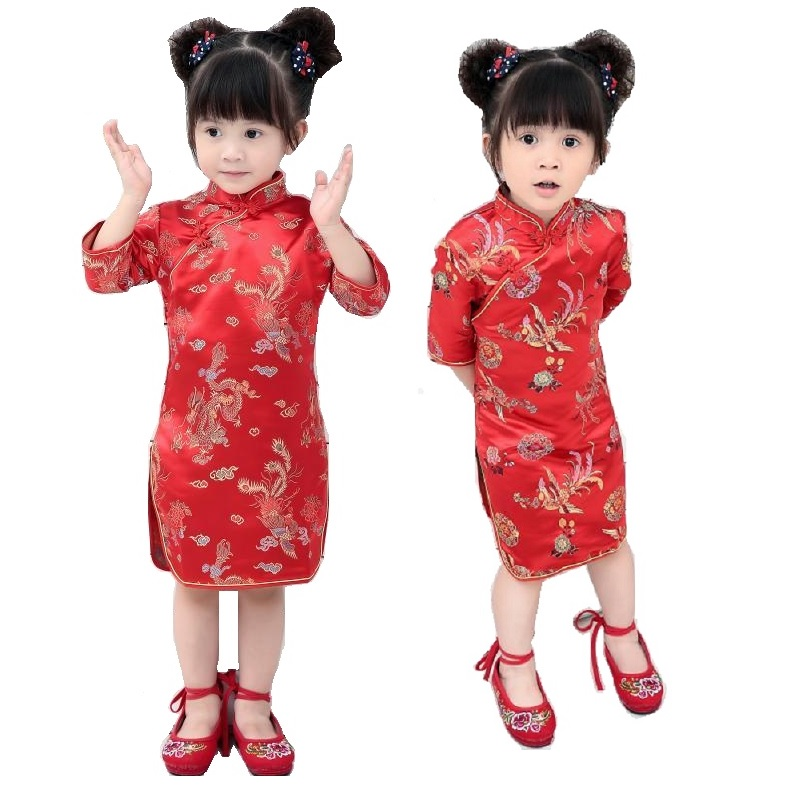 2018 Chinese Spring Festival Baby Girls Dress Tribute Silk Dragon Phoenix Happy RED Qipao Children Cheongsam Girl Clothes Jumper