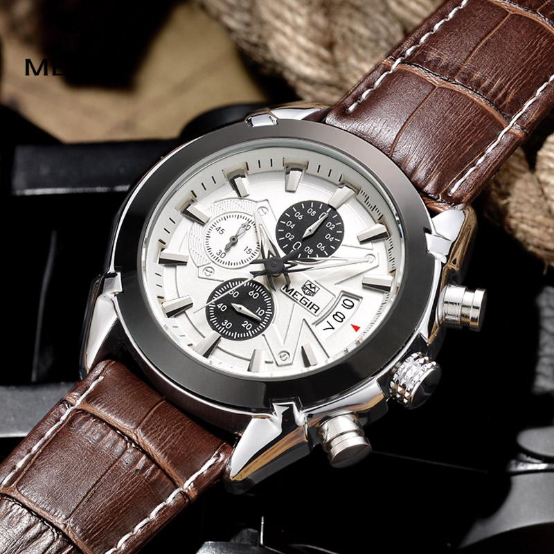 Prix pour Megir mode en cuir sport quartz montre pour homme militaire chronographe montres hommes armée style 2020 livraison gratuite