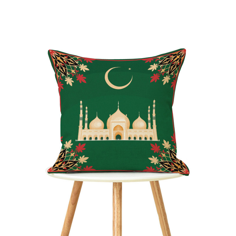 45x45cm Cotton Ramadan Mubarak Cushion Cover Eid Mubarak Decoration Home Islamic Muslim Party Favors Happy Eid Party Supplies