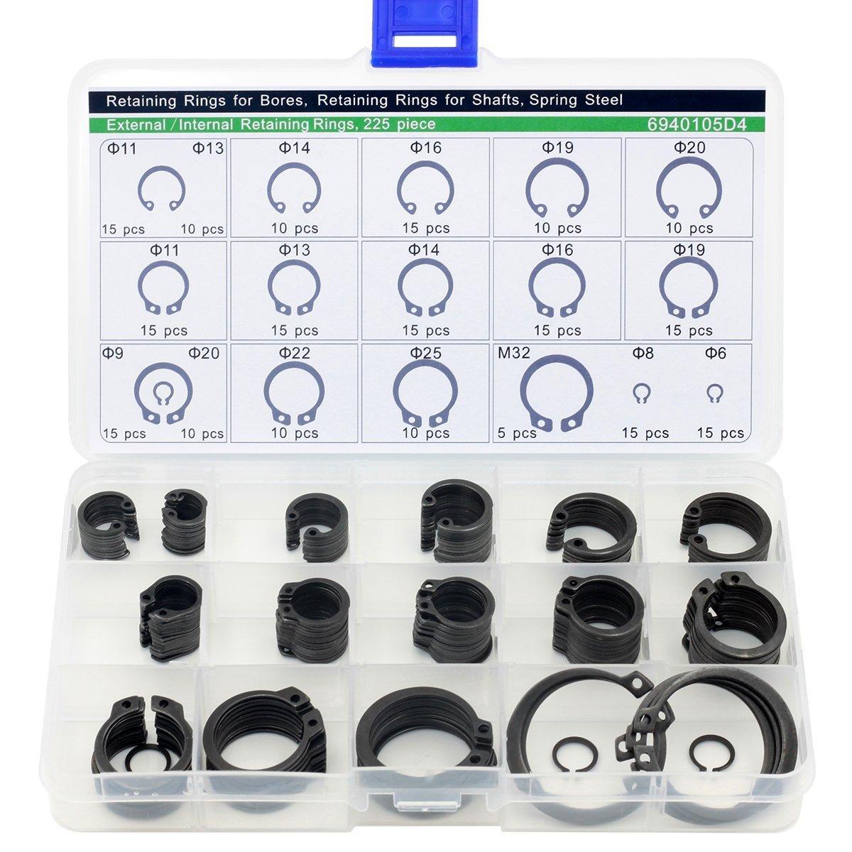 20mm Steel External Circlip Retaining Ring Snap Ring Assortment Kit Nut /& Bolt 6mm