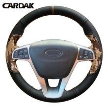 CARDAK DIY черный кожаный сшитый вручную чехол рулевого колеса автомобиля для Lada Vesta SW Lada X-Ray