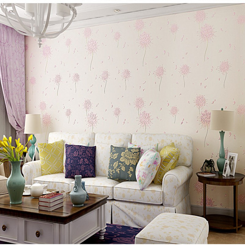 bedroom cozy korean hotel shipping lobby dandelion pastoral stereo 3d wallpapers