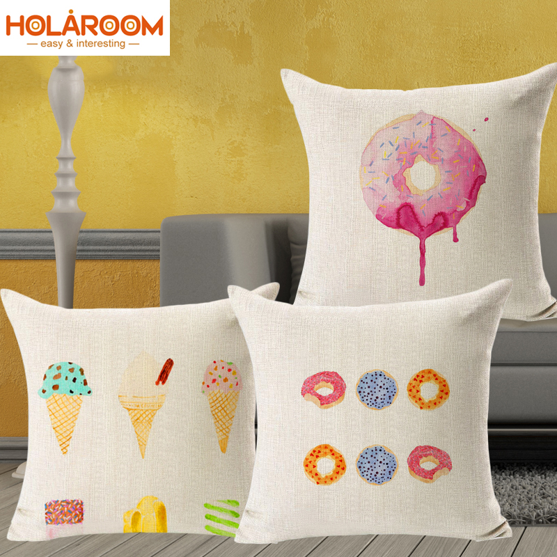 Dessert Home Decorative Cushion Covers Colorful Summer Feel Ice Cream  Housse Coussin Sofa Throw Pillow Covers