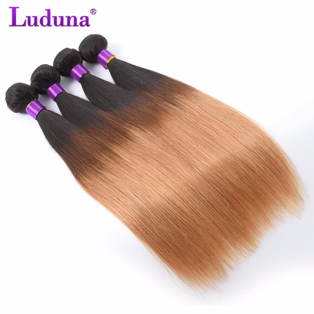 Luduna Ombre Brazilian Hair Straight Human Hair Extension Brazilian Hair Weave Bundles 1B 27 Two Tone