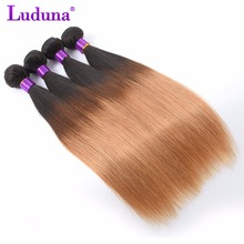 Luduna Ombre Brazilian Hair Straight Human Hair Extension Brazilian Hair Weave Bundles #1B/27 Two Tone Color Ombre Non-Remy Hair